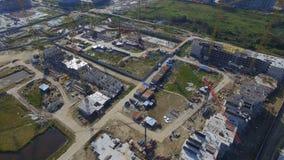 Vista aérea na construção da construção Trabalhadores do canteiro de obras, antena, vista superior Vista aérea do canteiro de obr Fotos de Stock