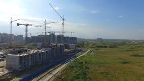 Vista aérea na construção da construção Trabalhadores do canteiro de obras, antena, vista superior Vista aérea do canteiro de obr Fotos de Stock Royalty Free