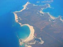 Vista aérea na costa oeste de Austrália foto de stock