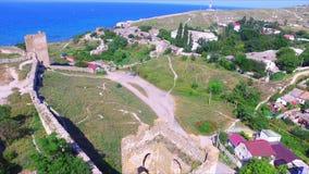 Vista aérea na fortaleza genoese medieval video estoque