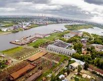 Vista aérea na jarda do reparo de Tyumen Rússia Fotografia de Stock