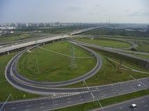 Vista aérea na junção de estradas foto de stock royalty free