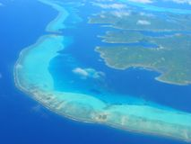 Vista aérea na lagoa pequena, Polinésia francesa imagens de stock