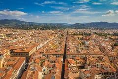 Vista aérea na parte histórica velha de Florença, Itália imagens de stock