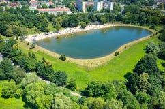 Vista aérea na piscina Fotografia de Stock