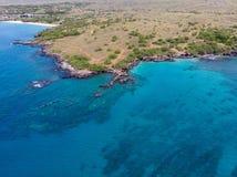 Vista aérea na praia de Waialea e na praia de Hapuna, ilha grande, Havaí fotografia de stock