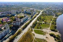 Vista aérea na rua de Scherbakova Tyumen Rússia Fotografia de Stock Royalty Free