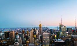 Vista aérea na skyline da cidade em New York City, EUA em uma noite Imagens de Stock