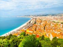 Vista a?rea Niza de la costa costa Agradable, Francia imagen de archivo