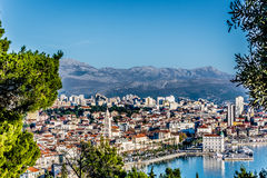Vista aérea no centro da cidade velho, Croácia rachada Imagem de Stock Royalty Free