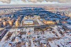 Vista aérea no distrito residencial no inverno Imagem de Stock