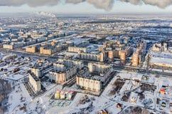 Vista aérea no distrito residencial no inverno Imagens de Stock Royalty Free
