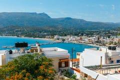 Vista aérea no porto da cidade de Sitia Fotografia de Stock Royalty Free