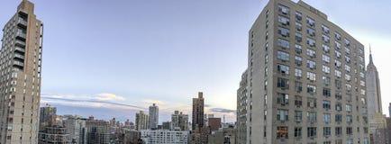 Vista aérea panorámica asombrosa del horizonte de Manhattan Fotos de archivo libres de regalías