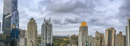 Vista aérea panorámica asombrosa del horizonte de Manhattan Imágenes de archivo libres de regalías