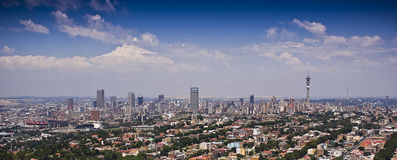 Vista aérea panorámica de Jozi CBD Imagen de archivo libre de regalías