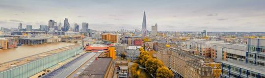 Vista aérea panorámica de Londres central en otoño Imagen de archivo libre de regalías