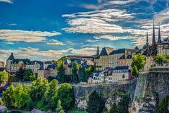 Vista aérea panorámica de Luxemburgo Foto de archivo libre de regalías