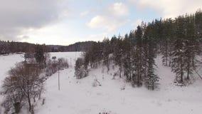 Vista aérea panorámica de una granja para los caballos de la cría en invierno metrajes