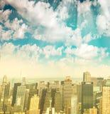 Vista aérea panorámica del horizonte de Midtown Manhattan del helicopt foto de archivo