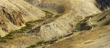 Vista aérea panorámica del paisaje Himalayan de la montaña, Jammu y Cachemira, Leh, Ladakh, la India Imágenes de archivo libres de regalías