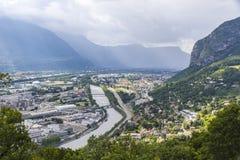 Vista aérea panorâmico da cidade de Grenoble, França Imagem de Stock