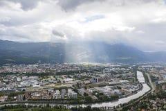 Vista aérea panorâmico da cidade de Grenoble, França Foto de Stock Royalty Free