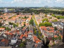 Vista aérea panorâmico da cidade velha na louça de Delft, Países Baixos, du Fotos de Stock Royalty Free