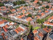 Vista aérea panorâmico da cidade velha na louça de Delft, Países Baixos, du Imagens de Stock Royalty Free