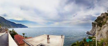 Vista aérea panorâmico da costa Ligurian Foto de Stock Royalty Free