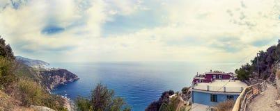 Vista aérea panorâmico da costa Ligurian Fotos de Stock