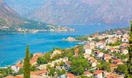 A vista aérea panorâmico de Kotor e Boka Kotorska latem, Montenegro Foto de Stock Royalty Free