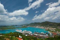 Vista aérea panorâmico na ilha das Caraíbas Imagens de Stock Royalty Free