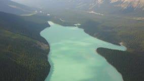 Vista aérea parque nacional del lago Peyto, Banff, Canadá almacen de metraje de vídeo