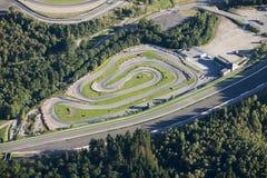 Vista aérea: pista karting pequena imagens de stock