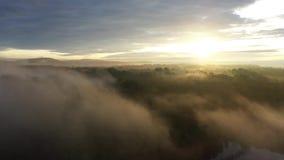 Vista aérea que move-se acima de um nascer do sol nevoento vídeos de arquivo