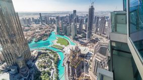 Vista aérea que sorprende del timelapse céntrico de los rascacielos de Dubai, Dubai, United Arab Emirates almacen de video