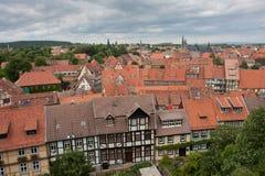 Vista aérea Quedlinburg, cidade alemão medieval Fotos de Stock