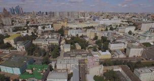 Vista aérea Rússia Moscou Voo em torno das torres da Moscou-cidade no horizonte 4k video estoque