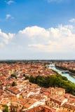 Vista aérea região de Verona, Itália, Vêneto Bandeja ensolarada bonita Imagens de Stock Royalty Free