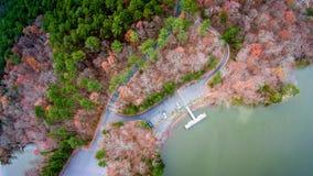 Vista aérea sobre o wylie do lago e o porto do barco Imagem de Stock Royalty Free
