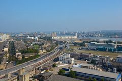Vista aérea sobre zonas das docas, Londres, Inglaterra foto de stock royalty free