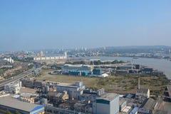 Vista aérea sobre zonas das docas, Londres, Inglaterra foto de stock