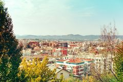 Vista aérea a Tirana, Albania, Fotografía de archivo libre de regalías