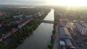 Vista aérea a una de la ciudad Poti, Georgia de la costa del Mar Negro almacen de metraje de vídeo
