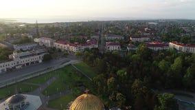 Vista aérea a una de la ciudad Poti, Georgia de la costa del Mar Negro almacen de video