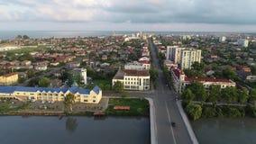 Vista aérea a una de la ciudad Poti, Georgia de la costa del Mar Negro metrajes