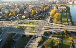 Vista aérea a uno de los distritos en el centro histórico de Kraków Imagen de archivo libre de regalías