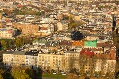 Vista aérea a uno de los distritos en el centro histórico de Kraków Fotografía de archivo libre de regalías