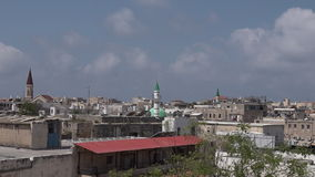 Vista aérea urbana horizonte del puerto de la ciudad de Akko del acre del viejo, Israel almacen de video